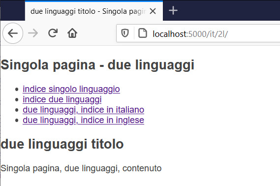 single page, two languages, italian language by URL